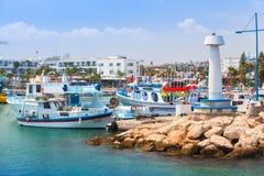 Agia Napa Marina widok z łodziami rybackimi Fotografia Royalty Free