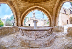 Agia Napa monastery fountain in Cyprus 6. An view from inside the Agia Napa monastery fountain in Cyprus Royalty Free Stock Images
