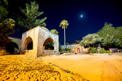 Agia Napa napy monaster przy nocą Famagusta okręg, Cypr Fotografia Stock