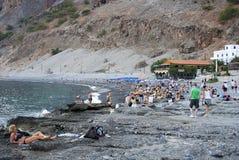 Agia Roumeli海滩-未加工的格式  免版税库存照片