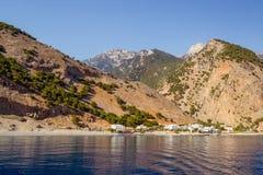 Agia Roumeli, Crete. Agia Roumeli is a town located on the end of Samaria Gorge, Crete, Greece Stock Photos