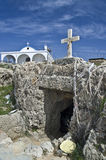 Agia Tekla old chapel carved into the rock and new church above Royalty Free Stock Images