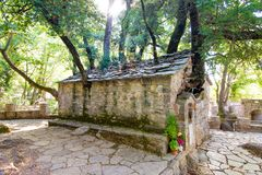 Agia Theodora church in Isaris Peloponnese, Greece. On the roof of the church have grown giant trees without any roots inside royalty free stock images