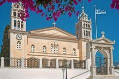 agia triada三位一体拜占庭式的教会在Lefkes帕罗斯岛,希腊 图库摄影