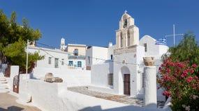 Agia Triada教会在Adamantas,芦粟海岛,基克拉泽斯,希腊 免版税库存图片