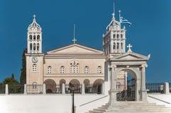 Agia Triada教会在Lefkes帕罗斯岛Greeece 库存图片