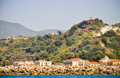Agia Triada church above Karlovasi town Royalty Free Stock Photo