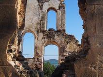 Agia Triada Church. Ancient church ruin located at Ayvalik,Cunda western Turkey stock photos