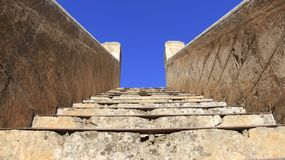 Stairway in historic place. old church of Agia Triada Stock Photo