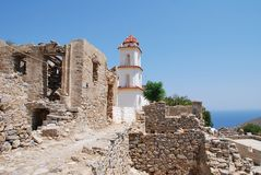 Agia Zoni教会,蒂洛斯岛海岛 库存照片