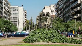 Agias Sofias fyrkantig near tempel av Hagia Sophia i Thessaloniki, Grekland lager videofilmer