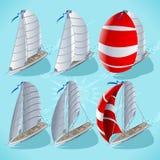 Żagiel łódź Ustawia 01 pojazd Isometric royalty ilustracja