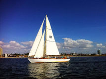 Żagiel łódź w mieście długa plaża Zdjęcie Stock