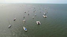 Żagiel łodzi powietrzny wideo flyover zbiory