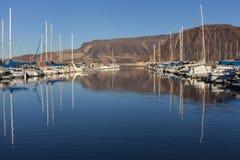Żagiel łodzie przy Jeziornym dwójniaka Marina w głazu mieście, NV na Styczniu 30 Obraz Stock