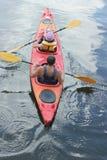 Żagiel na rzece w kajaku Zdjęcia Royalty Free