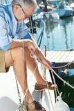 Żagiel łodzi jachtu cumowanie Obrazy Royalty Free