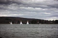 Żagiel łodzie w burzy Fotografia Royalty Free