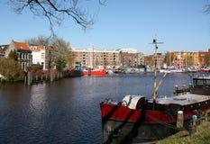 Żagiel łodzie w schronieniu Groningen Fotografia Royalty Free