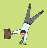 Agile businessman / Business upside down Stock Photo