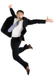 Agile businessman leaping Royalty Free Stock Image
