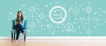Agile concept with young woman royalty free stock photo