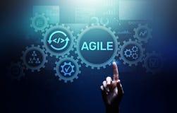 Agile development methodology concept on virtual screen. Technology concept. royalty free stock photos