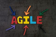Agile development, new methodology for software, idea, workflow. Management concept, multi color arrows pointing to the word AGILE at the center of black cement royalty free stock photos