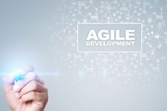 Agile development, Software and application programming concept on virtual screen. royalty free stock image