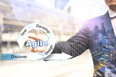 Agile Management concept for project manager. Agile Model Management concept for project manager, Businessman Touching Agile Model graphic royalty free stock images