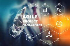 Agile project management concept. Illustration, team leader selecting tools for company improvement stock photos