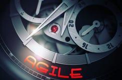 Agile sur le mécanisme automatique de montre-bracelet 3d Images libres de droits