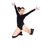 Agile woman leaping in the air Royalty Free Stock Photography
