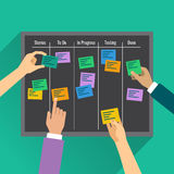 A agilidade é alcançada pela gestão de tarefa eficaz com a ajuda da placa ilustração stock