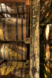 Aging barrels for bourbon whiskey Stock Photo