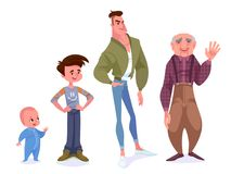 Aging concept of male characters. The cycle of life from childho. Od to old age. All age categories - baby, boy, man, old man. Vector cartoon illustration Stock Photo