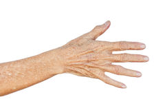 Aging concept. Old Asian female hands full of freckles and wrinkles / Aging concept Stock Photo