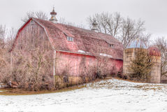 Aging Distressed Barn in Winter Stock Photography