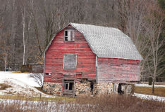 Aging Distressed Barn in Winter Stock Photos