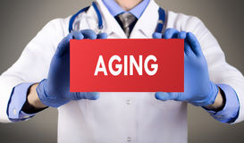 Aging. Doctor`s hands in blue gloves shows the word aging. Medical concept royalty free stock photography