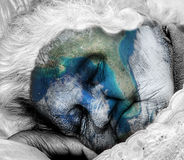 Aging / dying Mother Earth. Pollution eco concept with a depiction of an aging / dying Mother Earth stock photos