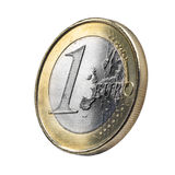 Euro coin. Close up Euro coin view with aging effect .Clipping path Stock Photo