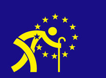 An aging Europe - European Union flag. Parody of European Union flag with symbol an old man with a cane. Concept for An aging Europe and Economic Crisis.Vector Stock Photo