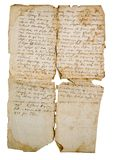 Aging manuscript on slavonic language. Ancient legal document Stock Images