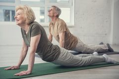 Aging people developing their flexibility. Pleased mature lady lying on carpet and pushing up on outstretched arms. Senior men in same posture on background Stock Images