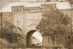 Aging photography of a Yeni-Kale gates, fortress Royalty Free Stock Photo