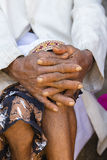Aging process - very old senior man hands wrinkled skin. Island Bali, Indonesia Stock Photo