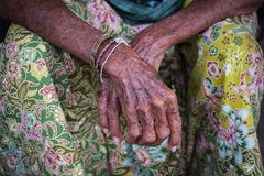 Aging process - very old senior woman hands wrinkled skin Royalty Free Stock Photo