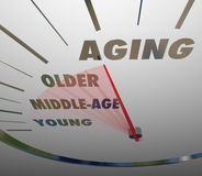 Aging Speedometer Fast Advancing Age Young to Old Royalty Free Stock Image
