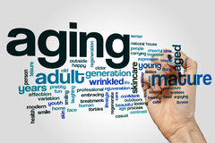 Aging word cloud concept on grey background Stock Photo